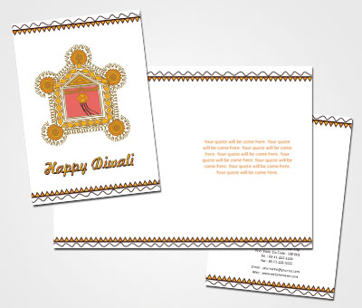 Online Greeting Card printing Diwali Oil Lamps