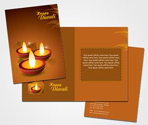 Greeting Card printing Diwali Clay Lamp