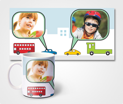 Online Mugs printing Car And Buildings