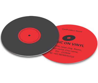 Online Business Card - Die Cut printing Vinyl Record Shop