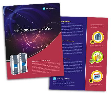 single page brochures design for web server hosting offset or