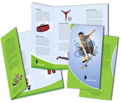 Brochures Two Fold Design for Skate Shop Offset or Digital