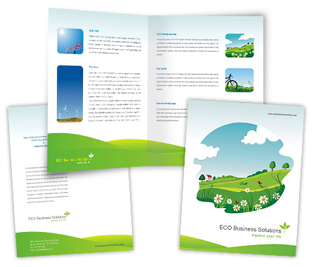 Brochures One Fold Design for Eco Friendly Products Offset