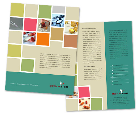 single page brochure templates - single page brochures design for medical store offset or