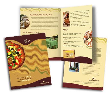 Online Brochures One Fold printing Fast Food Restaurant