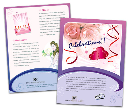 single page brochures design for event management services offset or