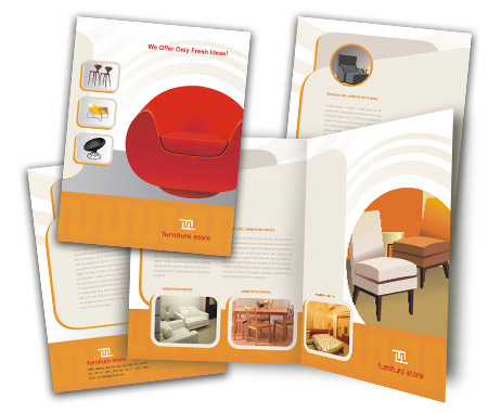 Brochures one fold design for furniture stores offset or for Negozi design online