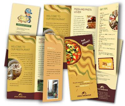 Online Brochures Two Fold printing Fast Food Restaurant