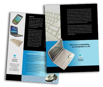 single page brochures design for computer hardware offset or digital