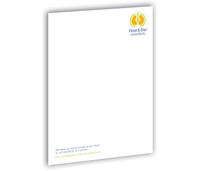 Online Letterhead printing Health Fitness Diet