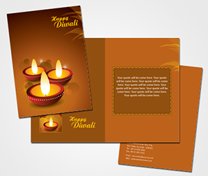 Greeting Card printing Diwali Clay Lamp
