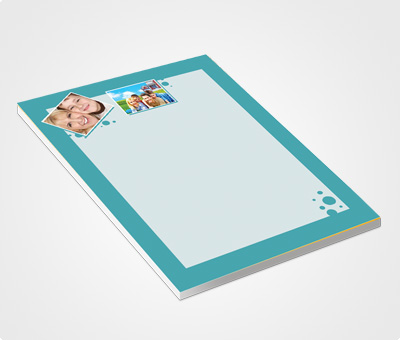 Online Notepads printing Blue Border And Family Photo