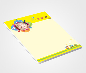 Notepads printing Yellow Header And Kids Photo