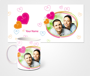 Mugs printing Hearts And young Couple