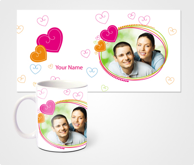 Online Mugs printing Hearts And young Couple