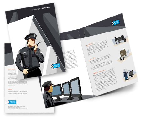 Online Brochures One Fold printing Security Systems