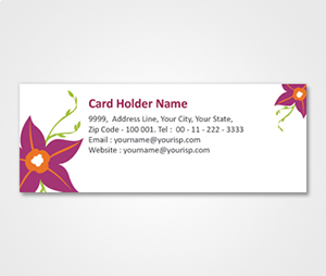 Address Labels printing White Sticker With Dark Pink Flowers