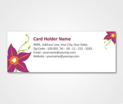 Online Address Labels printing White Sticker With Dark Pink Flowers