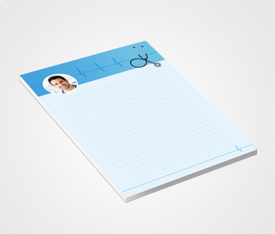 Online Notepads printing Blue Header With Picture and Stethoscope