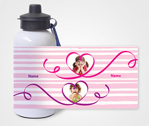 Water Bottles printing Kids and Hearts