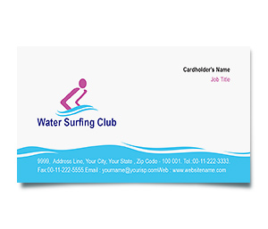 Business Card printing Water Surfing Club