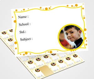 School Note Book Label printing Yellow Dots & Waves