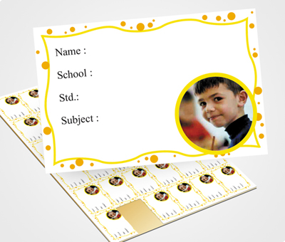 Online School Note Book Label printing Yellow Dots & Waves