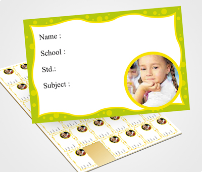 Online School Note Book Label printing Green Waves Border