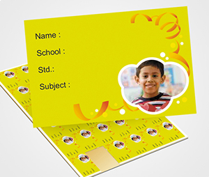 School Note Book Label printing Ribbon on Yellow Background