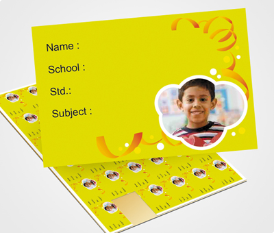 Online School Note Book Label printing Ribbon on Yellow Background