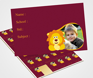 School Note Book Label printing Lion Graphic