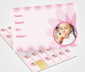 School Note Book Label printing Pink flowers