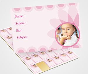 School Note Book Label printing Pink flowers