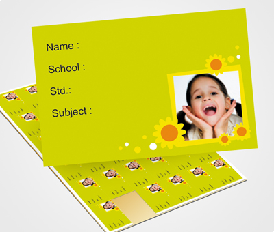 Online School Note Book Label printing Floral Image