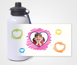 Water Bottles printing Sketched Hearts and kids