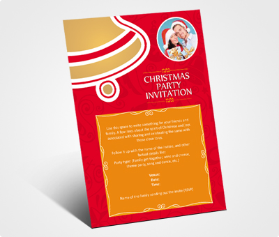 Online Invitations printing Christmas Party Celebration