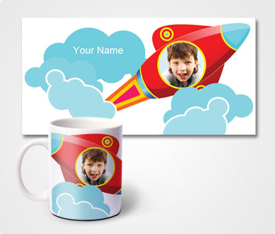 Online Mugs printing Rockets and Kids Picture