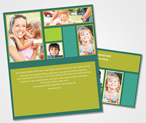 Note Cards printing Green Background and Family Pics