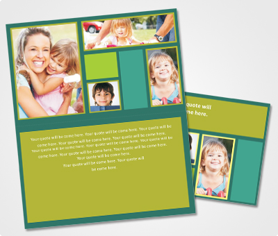 Online Note Cards printing Green Background and Family Pics