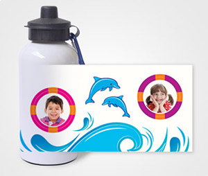 Water Bottles printing Waves and Dolphines