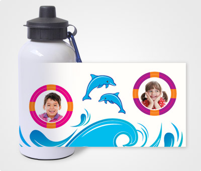 Online Water Bottles printing Waves and Dolphines