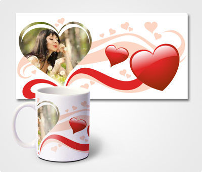 Online Mugs printing Red Hearts