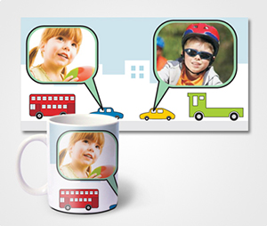 Mugs printing Car And Buildings