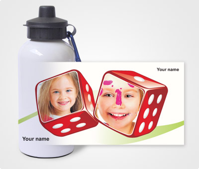 Online Water Bottles printing Dice and Kids Picture