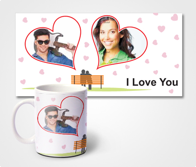 Online Mugs printing I Love U & Couple Pictures