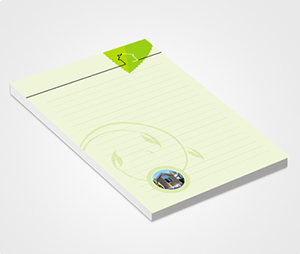 Notepads printing Green Leaves and  House