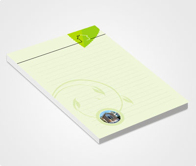 Online Notepads printing Green Leaves and  House
