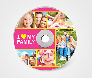 CD / DVD Stickers printing I Love My Family