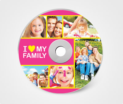 Online CD / DVD Stickers printing I Love My Family