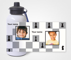 Water Bottles printing Chess Theme
